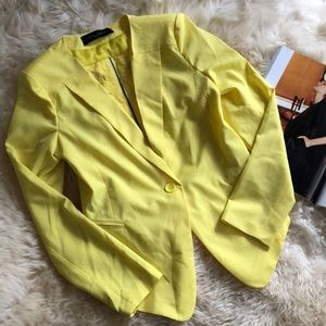 Yellow Blazer with zip up in the back